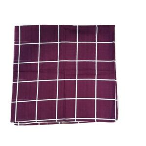 Cotton Square Burgundy Plaid Scarf Tichel Hijab